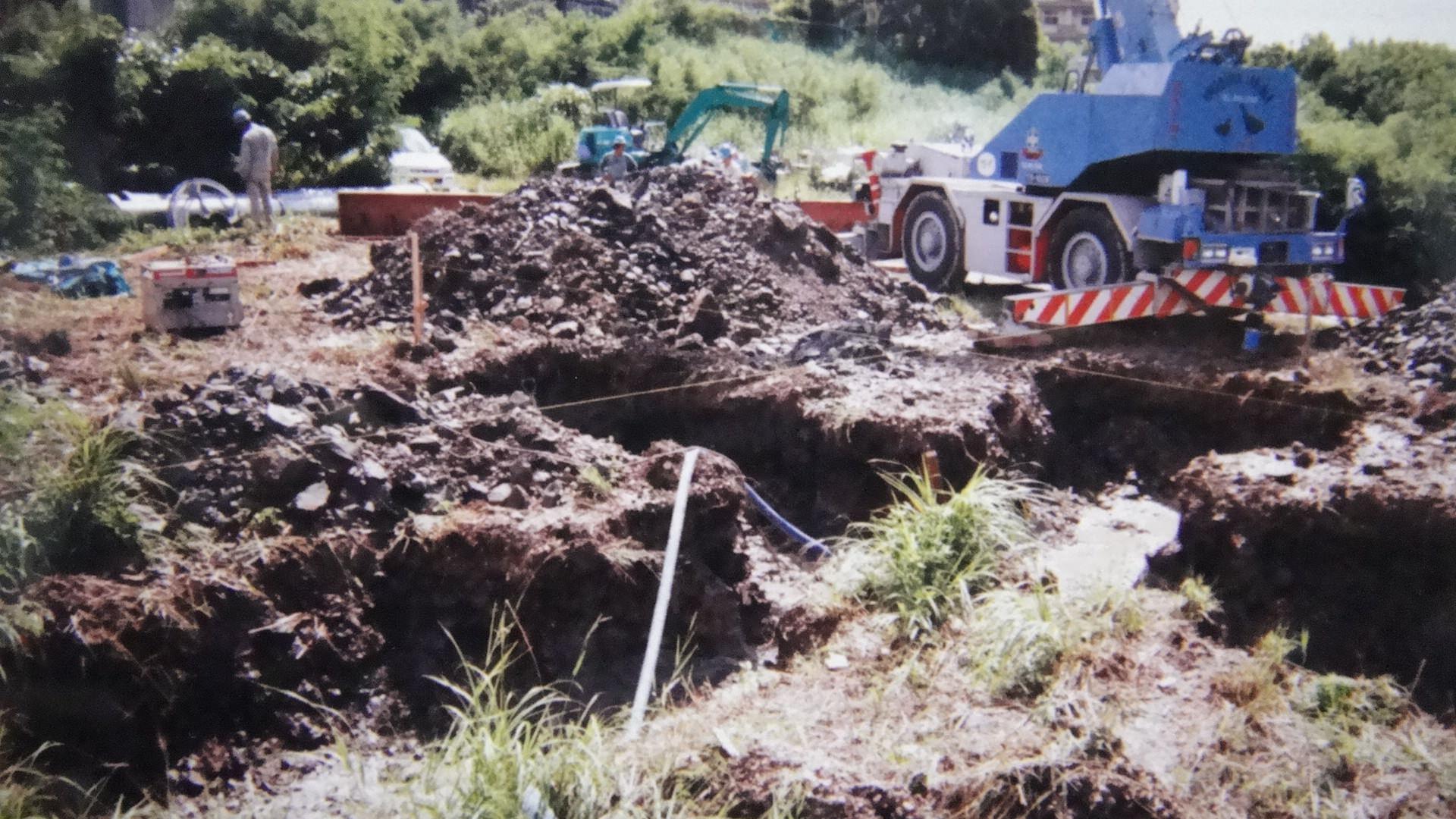 風車台埋め込み用の掘削